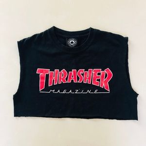 Thrasher Tops - Thrasher Red Logo Crop Top Small